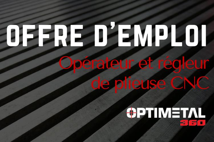 Offre d'emploi : opérateur et régleur de plieuse CNC