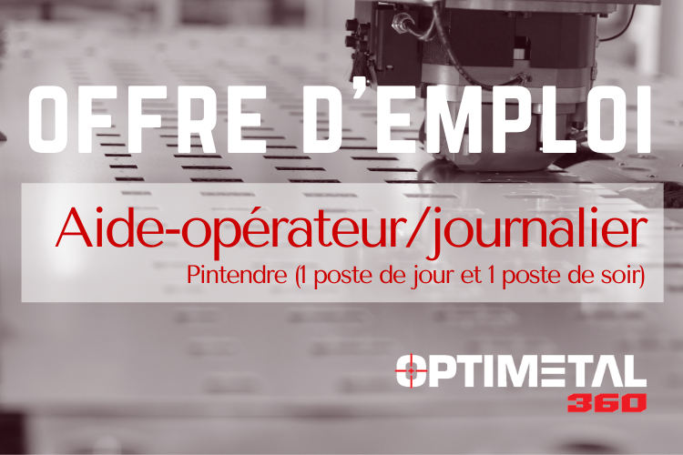 Offre d'emploi : Aide-opérateur/journalier (Pintendre/jour et soir)